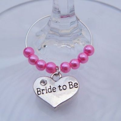 Bride To Be Wine Glass Charm - Beaded Style